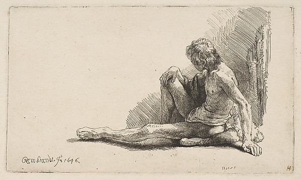 This is What Rembrandt and Study from the Nude| Man Seated on Ground with One Leg Extended Looked Like  in 1646