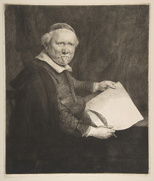 Portrait of Lieven Willemsz van Coppenol, Writing Master (the larger plate)