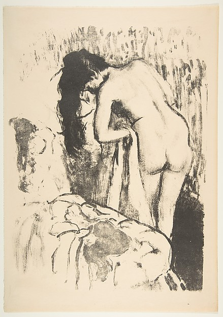 Nude Woman Standing, Drying Herself