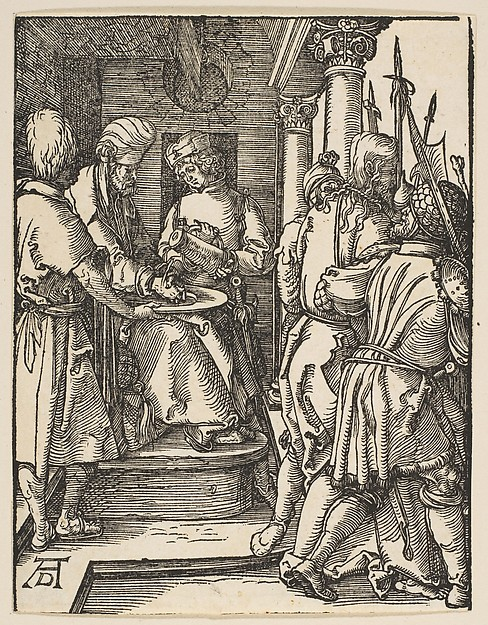 Fascinating Historical Picture of Albrecht Drer with Pilate Washing His Hands from The Small Passion in 1509