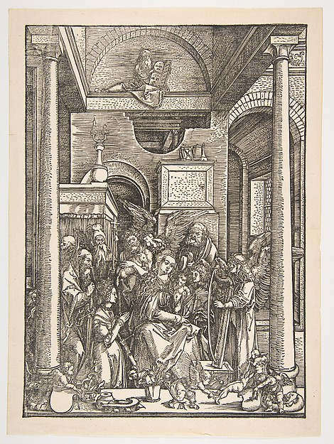 This is What Albrecht Drer and The Glorification of the Virgin from The Life of The Virgin Looked Like  in 1502