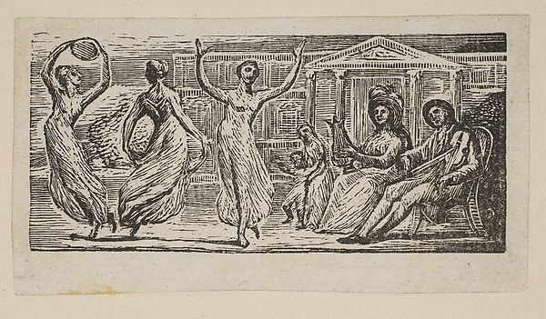 This is What William Blake and Menalcus Watching Women Dance from Thorntons Pastorals of Virgil Looked Like  in 1821