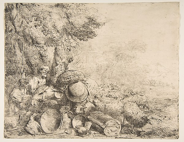 Fascinating Historical Picture of Giovanni Benedetto Castiglione with Two Shepherds with a Donkey in 1630