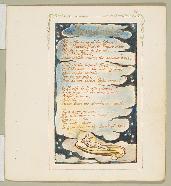 This is What William Blake and Songs of Experience| Introduction| Hear the voice of the Bard Looked Like  in 1825