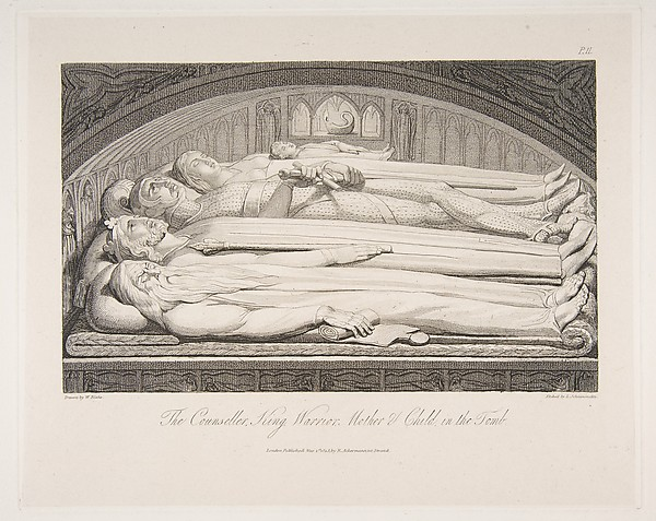 Fascinating Historical Picture of Luigi Schiavonetti with The Counsellor King Warrior Mother  Child in the Tomb from The Grave a Poem by Robert Blair on 3/1/1813