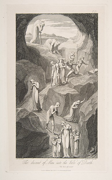 Fascinating Historical Picture of Luigi Schiavonetti with The Descent of Man into the Vale of Death from The Grave a Poem by Robert Blair on 3/1/1813
