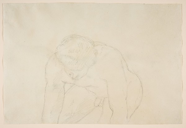 Study of a Male Nude Shouldering a Wooden Block