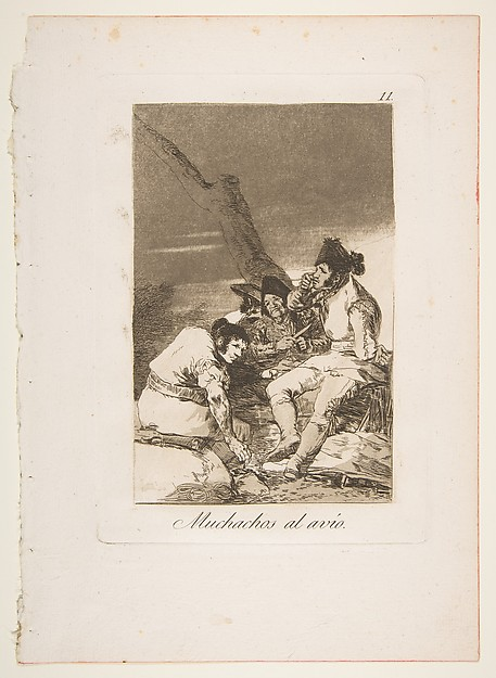 Plate 11 from 'Los Caprichos': Lads Making Ready (Muchachos al Avío)