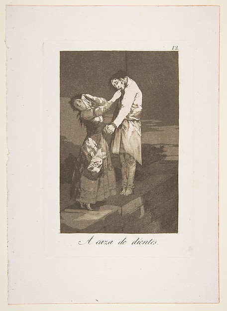Plate 12 from 'Los Caprichos': Out hunting for teeth (A caza des dientes.)