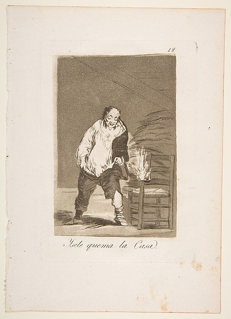 Plate 18 from 'Los Caprichos':And his house is on fire (Ysele quema la Casa.)