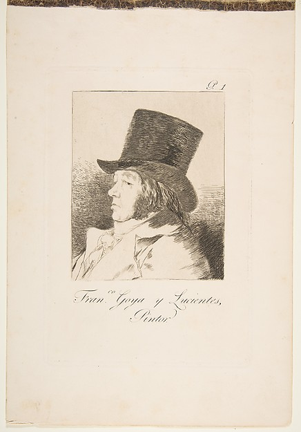 Plate 1 from 'Los Caprichos': Self-portrait of Goya (Franco. Goya e Lucientes, Pintor)