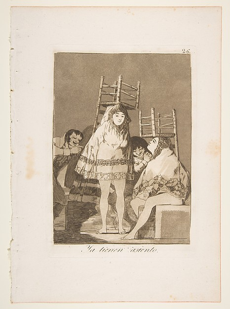 Plate 26 from ' Los Caprichos':They've already got a seat (Ya tienen asiento.)
