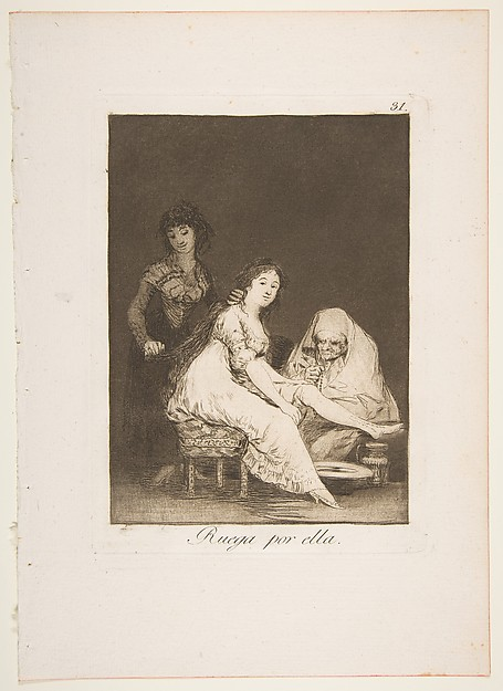 Plate 31 from 'Los Caprichos': She prays for her (Ruega por ella.)