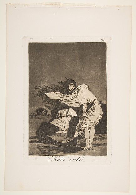 Plate 36 from 'Los Caprichos: A bad night (Mala noche.)