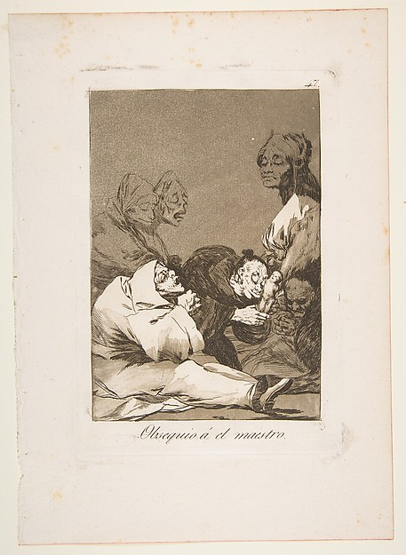 Plate 47 from 'Los Caprichos':A gift for the master (Obsequio á el maestro)