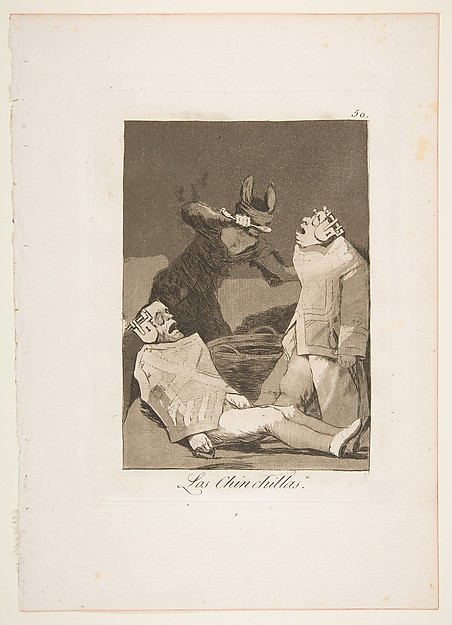 Plate 50 from 'Los Caprichos': The Chinchillas (Los Chinchillas.)