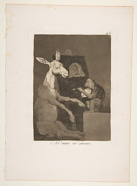 Plate 41 from 'Los Caprichos':  Neither more nor less (Ni mas ni menos.)