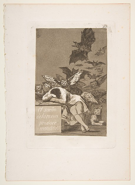 The Sleep of Reason Produces Monsters (El sueño de la razon produce monstruos), from The Caprices (Los Caprichos), plate 43