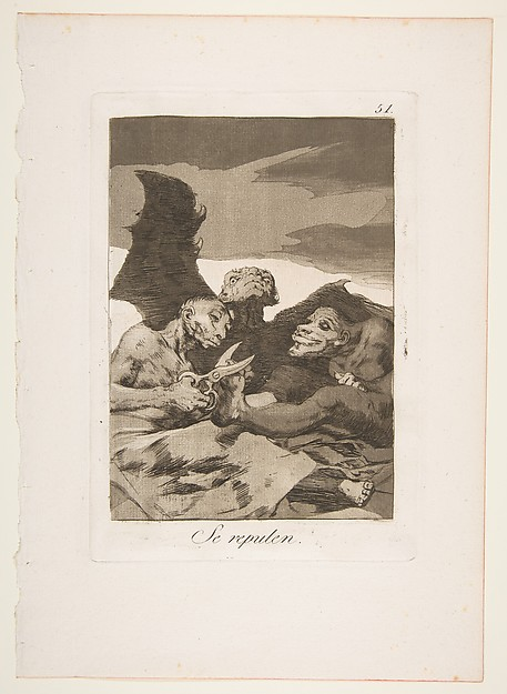 Plate 51 from 'Los Caprichos': They spruce themselves up (Se repulen.)