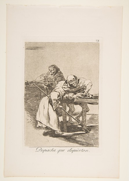 Be quick, they are waking up (Despacha, que dispiértan), from The Caprices (Los Caprichos), plate 78