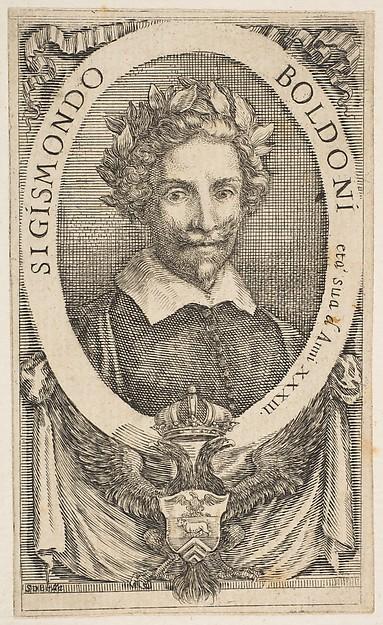 Fascinating Historical Picture of Stefano della Bella with Portrait of the Poet Sigismond Boldoni in 1656