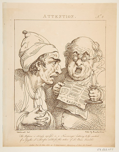 Fascinating Historical Picture of George Moutard Woodward with Attention (Le Brun Travested or Caricatures of the Passions) on 1/21/1800