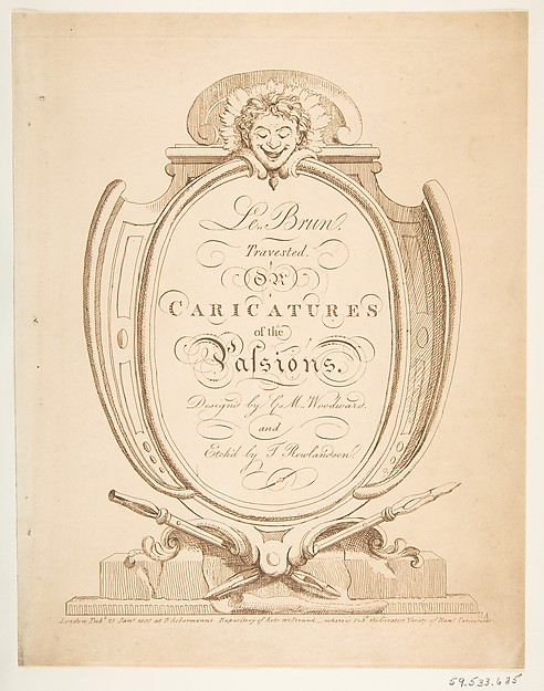 This is What Thomas Rowlandson and Title Page| Le Brun Travested or Caricatures of the Passions Looked Like  on 1/21/1800