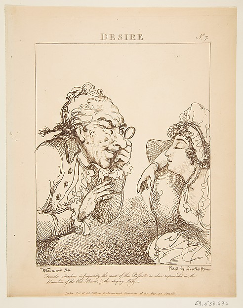 Fascinating Historical Picture of George Moutard Woodward with Desire (Le Brun Travested or Caricatures of the Passions) on 2/21/1800