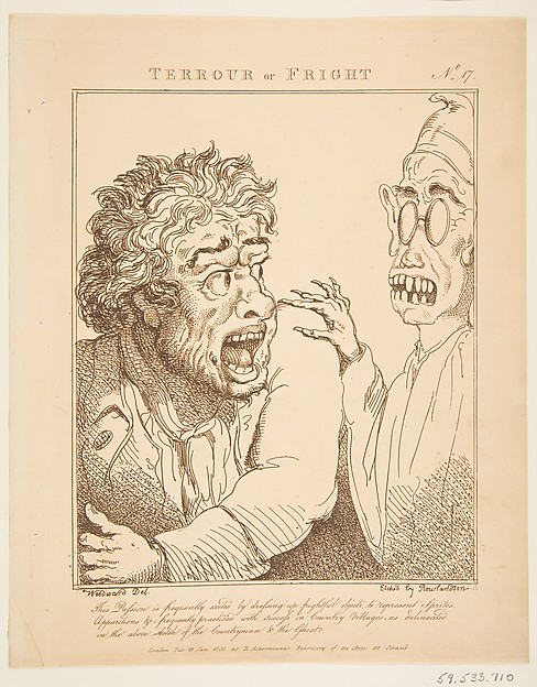 Fascinating Historical Picture of George Moutard Woodward with Terrour or Fright (Le Brun Travested or Caricatures of the Passions) on 1/21/1800