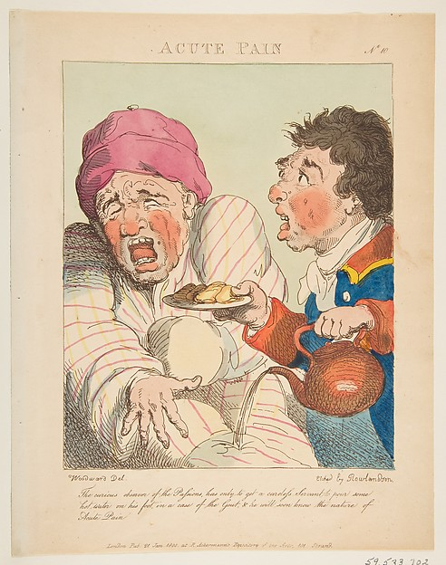 Fascinating Historical Picture of George Moutard Woodward with Acute Pain (Le Brun Travested or Caricatures of the Passions) on 1/21/1800