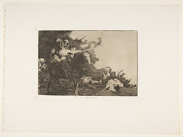 Plate 17 from 'The Disasters of War' (Los Desastres de la Guerra): 'They do not agree.' (No se convienen.)