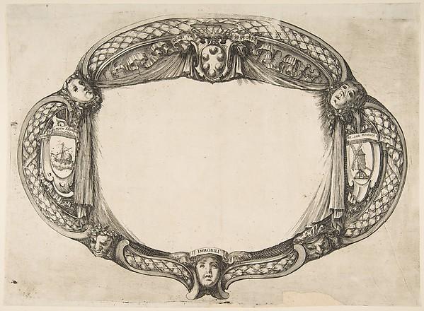Fascinating Historical Picture of Stefano della Bella with Ornament Design for a Thesis on the Device| Quest un soccorso in 1656