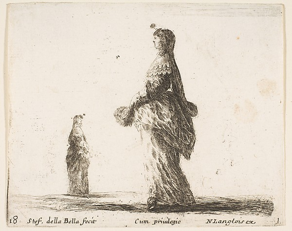 Noblewoman Walking With Feather Fan