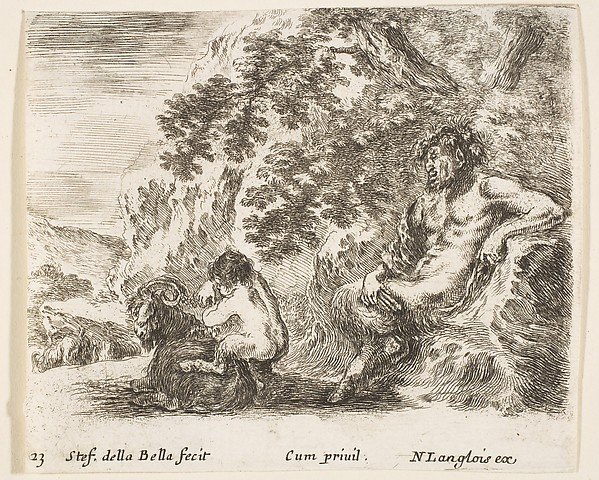 A Satyr Watches His Child Play with a Goat