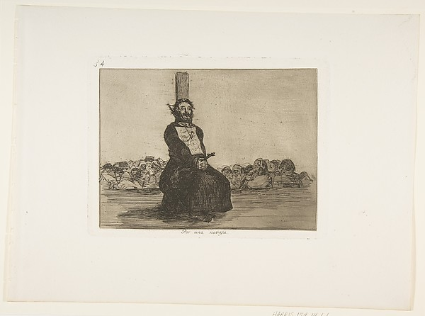 Plate 34 from 'The Disasters of War' (Los Desastres de La Guerra):'On account of a knife' (Por una navaja.)