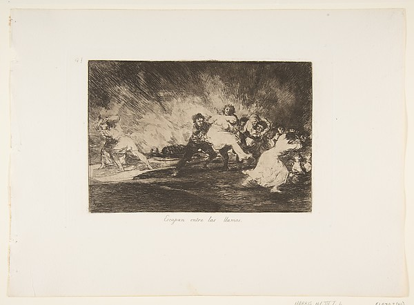 Plate 41 from 'The Disasters of War' (Los Desastres de La Guerra): 'They escape through the flames.' (Escapan entre las llamas)