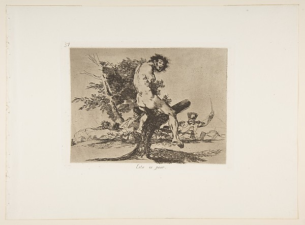 Plate 37 from 'The Disasters of War' (Los Desastres de La Guerra):'This is worse' (Esto es peor.)