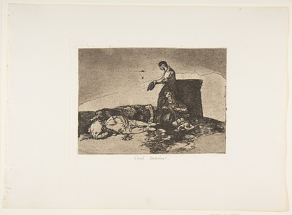 Plate 48 from 'The Disasters of War' (Los Desastres de la Guerra): 'Cruel tale of woe!'(Cruel Lástima!)