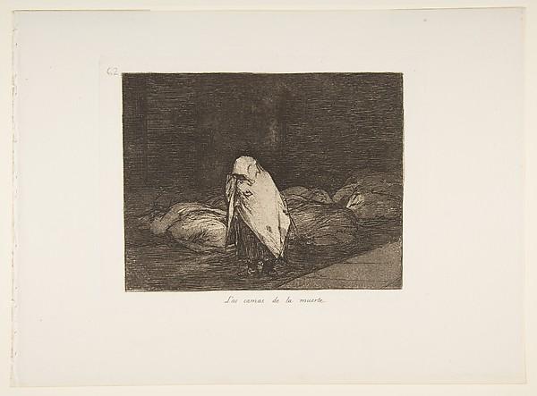 Plate 62  from 'The Disasters of War' (Los Desastres de la Guerra): 'The beds of death' (Las camas de la muerte.)