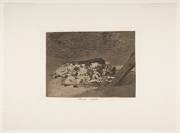 Plate 63 from 'The Disasters of War' (Los Desastres de la Guerra): 'Harvest of the dead'' (Muertos recogidos.)