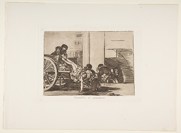 Plate 64  from 'The Disasters of War' (Los Desastres de la Guerra): 'Cartloads to the cemetary''(Carretadas al cementerio.)