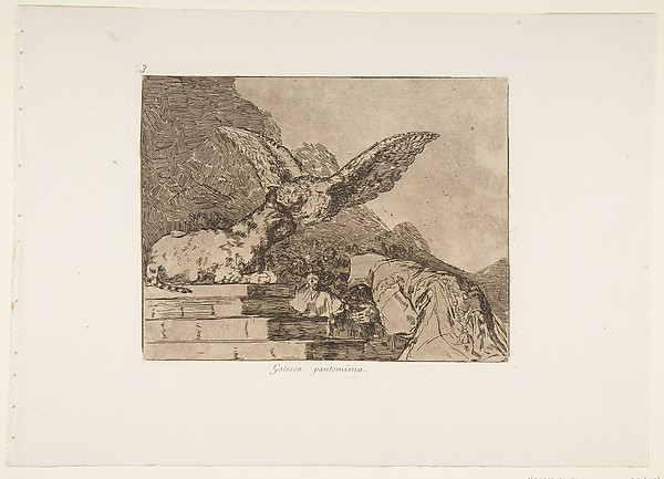 Plate 73 from 'The Disasters of War' (Los Desastres de la Guerra): 'Feline pantomime' (Gatesca pantomima.)