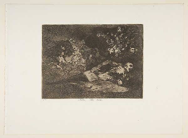 Plate 69  from 'The Disasters of War' (Los Desastres de la Guerra): 'Nothing. The event will tell.' (Nada. Ello dirá)