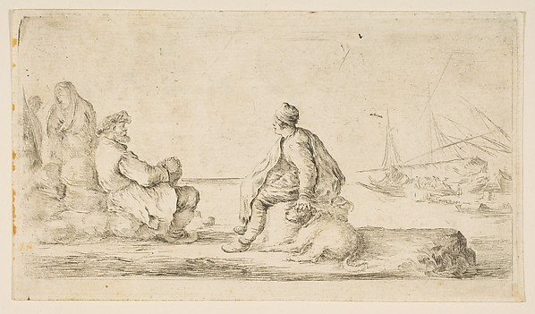 A Young Sailor and an Old Man Sitting by the Sea