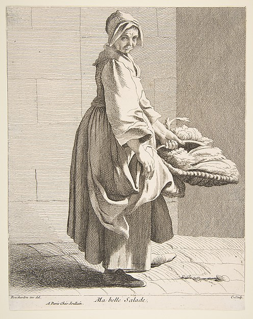 Fascinating Historical Picture of Anne Claude Philippe de Tubires comte de Caylus with Lettuce Seller in 1742