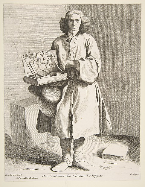 Fascinating Historical Picture of Anne Claude Philippe de Tubires comte de Caylus with Peddler of Knives Scissors and Combs in 1742
