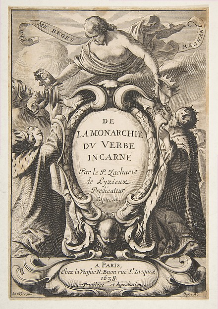 Fascinating Historical Picture of Abraham Bosse with Title-page| De la Monarchie du Verbe incarn in 1638