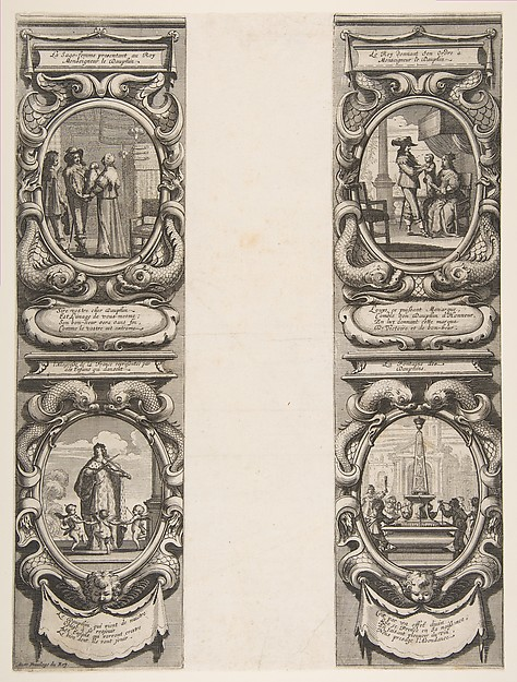 Fascinating Historical Picture of Abraham Bosse with Almanach for 1639| Louis XIII and Anne of Austria entrusting the Kingdom and the Heir Apparent to th in 1638
