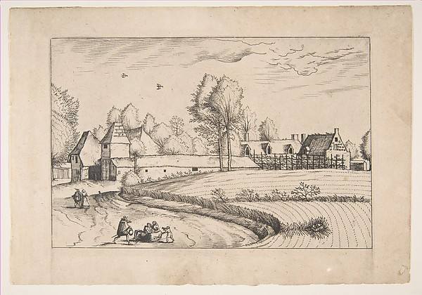 Country Houses, couple and cornfield in the foreground, from the series The Small Landscapes (Praediorum Villarum)