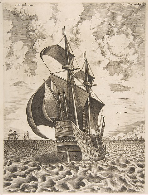 Armed Four-Master Sailing Towards a Port from The Sailing Vessels